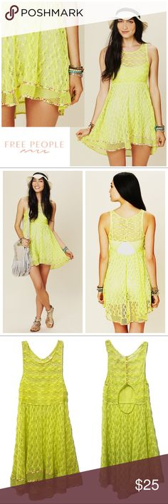 New Romantics Madame Butterfly Sheer Lace Tunic Loose knit tunic in neon yellow with a fit and flare style, cut-out open back, and floral trim. Perfect to wear as a dress, with a slip underneath, or as a beach bikini cover-up. Item is in excellent condition with no obvious signs of wear. Mark on interior designer label to prevent returns (pictured). Button-up back with floral trim. Size Small, true to size. Free People Tops Tunics