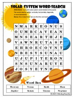 Solar System Word Search *HARD from Windup Teacher on TeachersNotebook.com -  (3 pages)  - Solar System Word Search. Find the 8 Planets. Bonus: How many times can you find the word SUN?