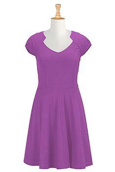I <3 this Notched V-neck cotton knit dress from eShakti