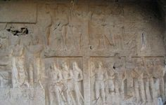 Sasanian Empire - Rock Reliefs in Tang-e Chowgan Gorge, Bishapur (241-272), showing victories of Shapur I over Roman troops.