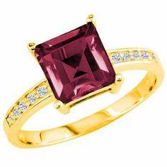 DivaDiamonds 10K Gold Round Square Created Pink Tourmaline and Diamond Ring DivaDiamonds. $339.00