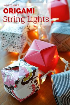 Origami Lights -- transform the classic Chinese water bomb in origami light covers to create these gorgeous origami string lights, a beautiful and festive lighting option! Not just for Chinese New Year,  they're a great option for  indoor or outdoor parties, weddings, baby showers, Christmas, you name it... | via @unsophisticook on unsophisticook.com Chinese New Year Party, Chinese New Year Decorations, Chinese New Year Crafts, New Years Decorations, Light Decorations, New Year's Crafts, Crafts To Do, Crafts For Kids, Paper Crafts