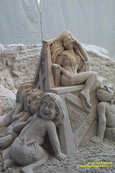 "Sand sculpture at the Pier 60 ""Sugar Sand Festival"" in Clearwater Beach,  Florida. From Jack Armstrong and tampabaysnowbirder.com Sand Sculptures, Lion Sculpture, Fun Places To Go, Tampa Bay Area, Clearwater Beach, Florida, Sugar, Statue, The Florida"