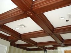 Coffered Ceiling Molding by the Design Build Planners. Information on coffered ceiling molding and pictures provided. Molding Ceiling, Ceiling Beams, Ceiling Lights, Coffered Ceilings, Ceiling Decor, Roof Cladding, Faux Wood Beams, Wood Paneling, Colored Ceiling