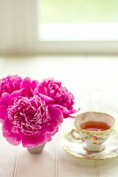 Tea Time - Peonies are such a nice touch.