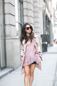 Spring Trench :: Pink detachable trench & Rose details