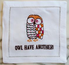 All of the napkins on this site are awesome!! August Morgan // Embroidered Owl Cocktail Napkins S/4