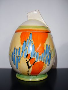 Clarice Cliff egg-shaped jam pot