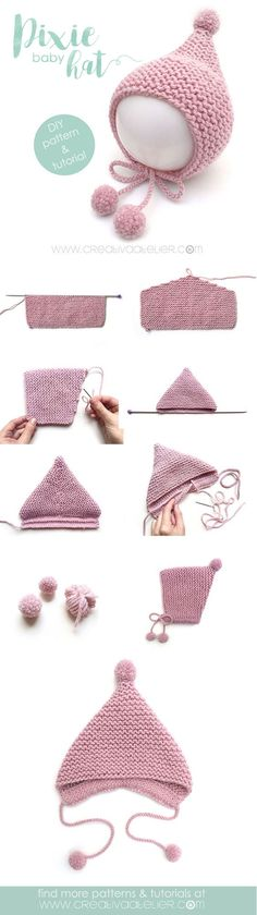 Baby Knitting Patterns Pixie baby hat… Baby Knitting Patterns Pixie baby hat… This image - Knitting Ideas Baby Knitting Patterns, Baby Hats Knitting, Easy Knitting, Baby Patterns, Knitted Hats, Crochet Patterns, Crochet Baby Bonnet, Knit Crochet, Crochet Hats
