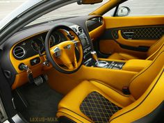 Bentley Continental GT yellow and black interior option 3 diamond stitch almost orange or gold