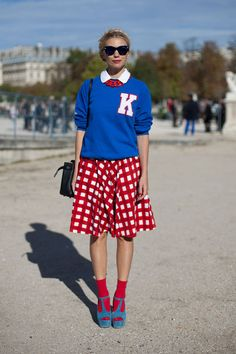 STREET STYLE SPRING 2013: PARIS FASHION WEEK - K is for kitschy on this red, white and blue moment.