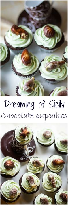 These Chocolate cupcakes with Vanilla Bean Swiss Meringue Buttercream and Marbled chocolate Sea Shells will make you believe you are being whisked away on a beautiful holiday!