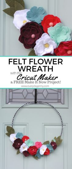 Did you know there are 50 FREE Make it Now Projects that come with the Cricut Maker? Learn how to make this Felt Flower Wreath. Did you know there are 50 FREE Make it Now Projects that come with the Cricut Maker? Learn how to make this Felt Flower Wreath. Felt Flower Wreaths, Felt Wreath, Diy Wreath, Wreath Ideas, Felt Flowers Patterns, Fabric Flowers, Paper Flowers, Diy Flowers, Material Flowers