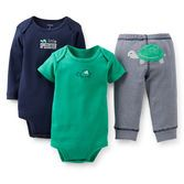 Your little guy will love the soft cotton and cute turtle on this 3-piece set. Two bodysuits and our essential pants pair up to keep him comfy during playtime or anytime.