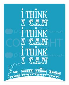 Nursery / Kids Room Art Print , Style: I think I can, train - 5 x 7. $14.00, via Etsy.