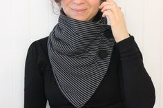 Snood Neck scarf Woman scarf  black and white by Zelecodesign