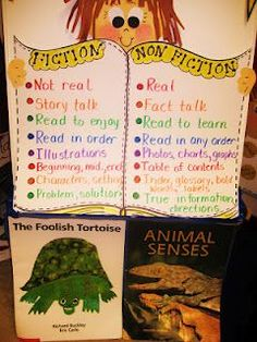 Fiction NonFiction Have this sign at the center and have kids sort books according to their attributes. (Cover spine labels at first and then reveal them to help connect fiction/nonfiction with Dewey!)