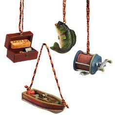 CAST FISHING CHRISTMAS ORNAMENT SET