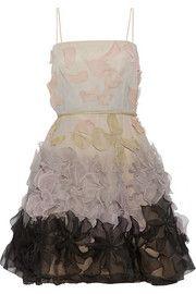 ValentinoFloral-appliquéd silk-chiffon dress