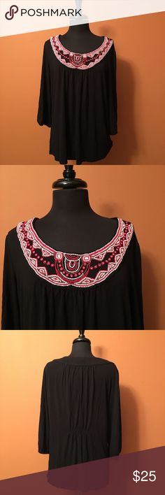 Beaded black jersey pullover blouse, size 1X Style & Co. Plus size pullover blouse with beaded collar, in good condition size 1X, 95% rayon/5% spandex Style & Co Tops