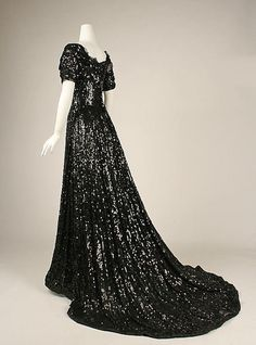 Evening Dress  1905  The Metropolitan Museum of Art.  Black jet beading covers this beautiful gown from top to bottom.  Love the train!