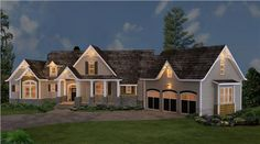 Stone, siding and cedar shakes blend beautifully together to create a unique look for this rustic ranch style house plan. The full front porch is ideal for peaceful evenings.