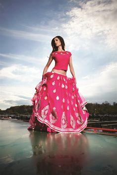 designer pink and gold lehenga