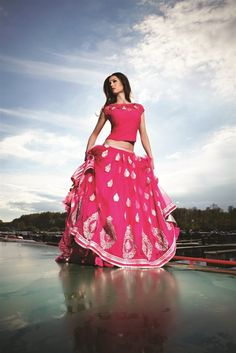 designer pink and gold lehenga