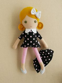 Fabric Doll Rag Doll Blond Haired Girl Black and by rovingovine