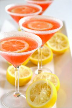 A little strawberry lemonade, made martini-like. #mocktail #babyshower