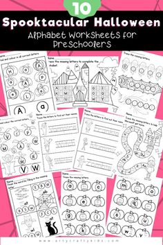 10 Spooktacular Halloween Alphabet Worksheets for Preschoolers: These fun and engaging alphabet worksheets are designed to help reinforce letter recognition and shape formation, build confidence and introduce basic spelling. Printable Preschool Activities | Halloween Coloring Pages for Kids | ABC Worksheets | Halloween Educational Printables for Kids | Preschool Alphabet Worksheets | Halloween Preschool Worksheets | Printable Preschool Worksheets Alphabet