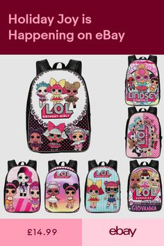 ae3403c8d35f 2018 Girls 1316 LOL Surprise Doll Backpack Multi-Character Kid School Bag UK