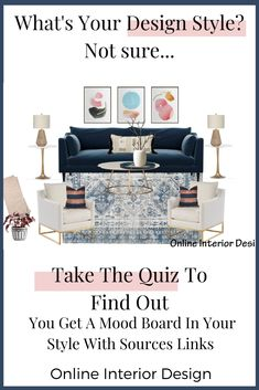 Online Interior Design Projects Take the quiz to find out your design style and get a mood board wit Interior Design Styles Quiz, Best Interior Design, Interior Design Services, Interior Styling, Flat Web Design, Make Design, Your Design, Design Design, My Style Quiz