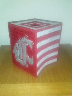 WSU Washington State University Cougars by melanieballestrazze, $15.00 Plastic Canvas Tissue Boxes, Plastic Canvas Crafts, Plastic Canvas Patterns, Washington State University, Needlework, Unique Jewelry, Handmade Gifts, Stitches, Projects