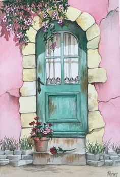 """""""Whimsical Cottage"""" watercolor by Pomm, 6 x 9 inches Watercolor Illustration, Watercolour Painting, Painting & Drawing, Simple Watercolor, Watercolor Landscape, Tattoo Watercolor, Watercolor Trees, Watercolor Animals, Watercolor Background"""