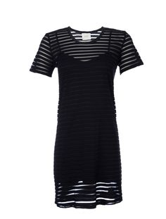 Wren Stripe Tee Jersey Dress - Take a riff on the season's sheer trend with this Wren dress. Features a sheer striped sheath with a fitted jersey lining underneath.