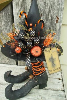 Help Me I'm Melting Decorated Witch Hat and by CountryImpressions, $35.00