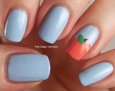 Baby Blue and Peach Nail Art Design Idea Peach Nail Art, Peach Colored Nails, Peach Acrylic Nails, Peach Nails, Marble Nail Designs, Simple Nail Art Designs, Best Nail Art Designs, Bright Coral Nails, Coral Nails With Design