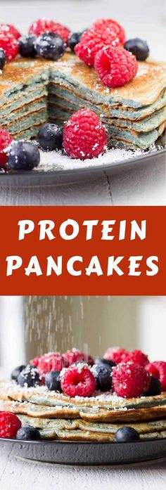 Easy Protein Pancakes! Sugar-free and healthy. Just oats, egg whites, blueberries, baking powder, protein powder, and Stevia.