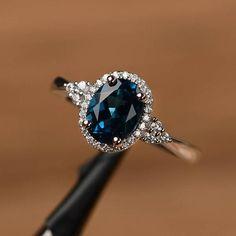 Londres topázio azul anel oval corte promessa anel de noivado anel de prata esterlina sólida azul birthstone anel de pedra preciosa  #