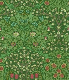 Blackthorn (WM8610/1) - Morris Wallpapers - A beautiful version of this traditional classic Morris design in his trademark greens.  Please do ask for sample for true colour match.