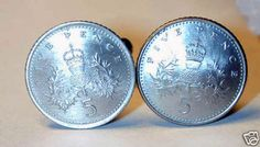 BEAUTIFUL SCOTTISH THISTLE CUFFLINKS OR EARRINGS! These are genuine British 5 pence coins, silver colored, that have been polished and carefully domed to bring out the design.   We'd be happy to convert them to earrings at no extra charge and the tiny version of this coin makes adorable earrings. Just ask.