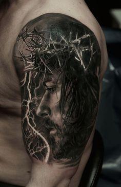 Jesus 3D Oberarm Tattoo Portr�t