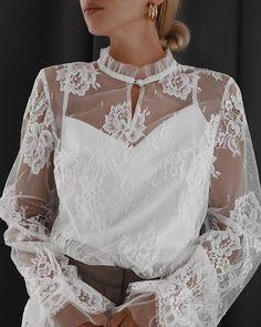 Shop Floral Sheer Mesh Lace Casual Blouse right now, get great deals at joyshoetique