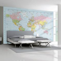World Map Wallpaper Wall Mural. A stunning one wall mural approx 10 feet wide x 7.6 feet tall. (3.15m x 2.32m) Comes in 4 pieces to apply. Please note the mural must be hung in one session, please see included instructions. Wall Paste available separately.