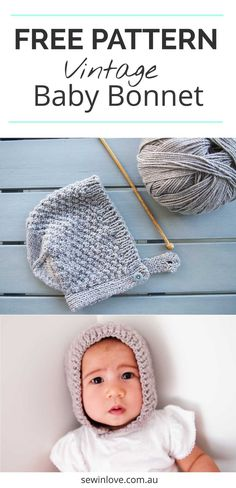 206f9a466ba Free Knitting Patterns for Babies  Vintage Bonnet   Hat
