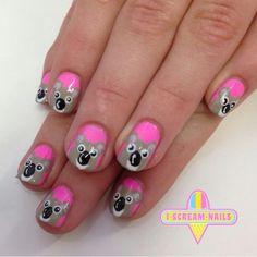 You scream I scream Cute Nail Polish, Cute Nail Art, Colorful Nail Designs, Cute Nail Designs, Sassy Nails, Fun Nails, Cartoon Nail Designs, Nail Mania, Animal Nail Art