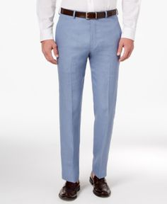 Lauren Ralph Lauren Men's Classic-Fit Solid Linen Dress Pants - Light Blue 44x32