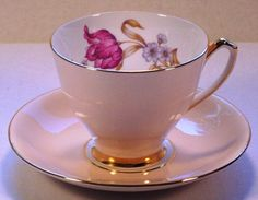 Vintage, Tea Cup and Saucer, Windsor, Bone China, 1950s, Parrot Tulip, Cream, Gold, Hand Numbered, Mid Century