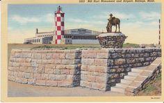 Bill Hart Monument  and Airport, Billings, Montana Postcard